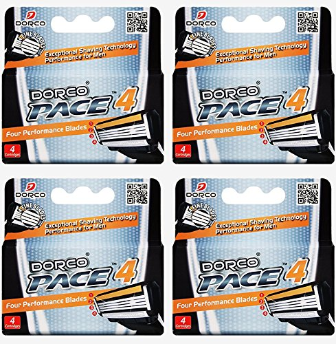 Dorco Pace 4- Four Blade Razor Shaving System- Value Pack - 16 Cartridges (No Handle) (Reusable Sharps Container compare prices)