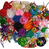 Imported And Hand Crafted Aakrti Craft Mix Bulk 25 Pcs Ribbon Flowers Bows For Craft,Wedding Ornament Appliques...