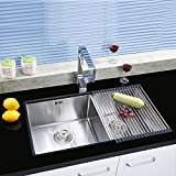 """VANRA(tm) Foldable Roll-up Dish Drying Rack Stainless Steel Over-the-Sink Colander Dish Drainer Tray (Black, 17.7""""L x 9.5""""W)"""