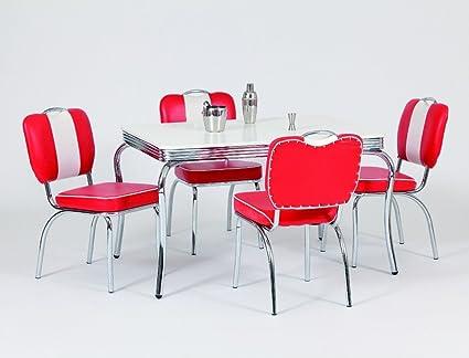 Bistrotisch Kiki 1 weiss mit 4x Stuhl Peter rot Tisch Tischgruppe Tisch Esstisch Bartisch Chrom Gastronomie Esszimmer