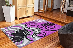 Modern Luxury Soft Montego Purple & Black Floral Motif Lounge Rug - 3 Sizes Available by The Rug House