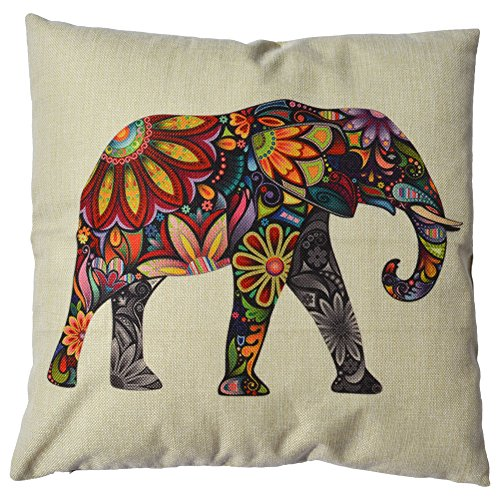 "Best Buy! WayHomeDecor Cotton Linen Decorative Throw Pillow Case Cushion Cover Cute Elephant 18 ""X18 "" (Pack of 2 Covers)"