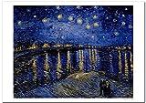 世界の名画 ゴッホ ローヌ川の星月夜 ジークレー技法 高級ポスター (A2/420ミリ×594ミリ)