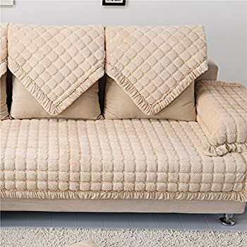 OstepDecor Multi-size Pet Dog Couch Rectangular Soft Quilted Furniture Protectors Covers for Sofa, Loveseat | ONE PIECE | Backing and Armrest Sold Separately | Beige 28