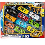 Blue Block Factory 17Piece Street Racer Sports Car DIE-CAST Metal Play Set For Kids Ages 3+ Playset