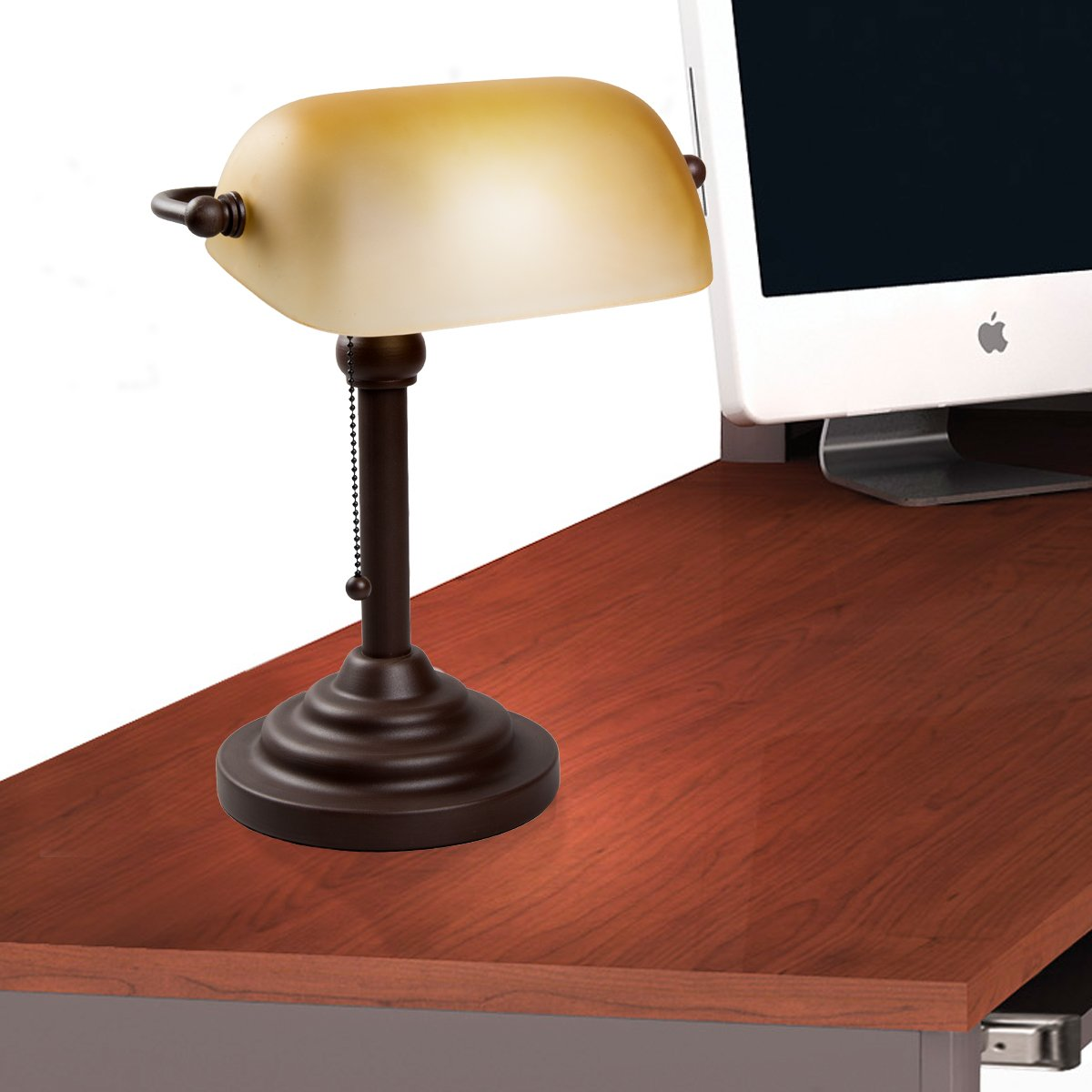 Bankers Style Lamp with Amber Shade