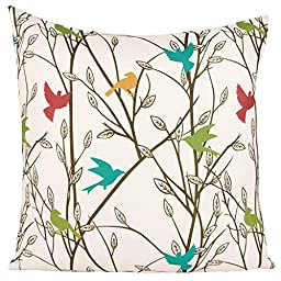 Puredown Canvas Pillow Sham Indoor/Outdoor Cushion Covers Summertime Bird Print Square 18X18 inch Multicolor
