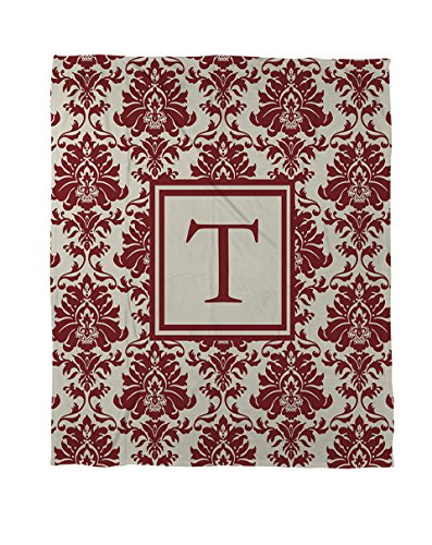 Thumbprintz Coral Fleece Throw, 50 By 60-Inch, Monogrammed Letter T, Crimson Damask front-446064