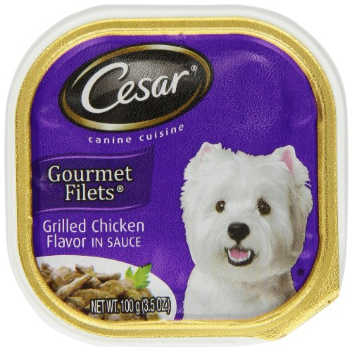 Cesar Canine Cuisine Gourmet Filets In Sauce Grilled Chicken Flavor For Small Dogs, 3.5-Ounce Trays (Pack Of 24)