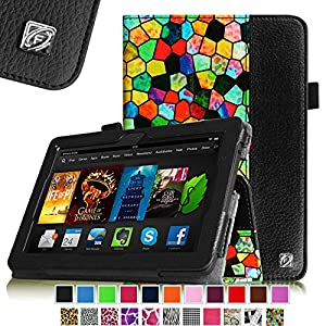 """Fintie Amazon Kindle Fire HDX 7 Folio Case Cover - Auto Sleep/Wake (will only fit Kindle Fire HDX 7"""" 2013), Stained Glass Mosaic"""