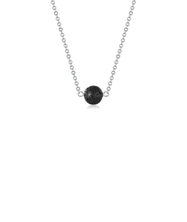 Lava Stone Bead Essential Oil Diffuser Necklace, Lava Ball Essential Pendant Aromatherapy Jewelry with 16.5 O Chain (Color: 1 Lava Ball-s, Tamaño: 10mm)