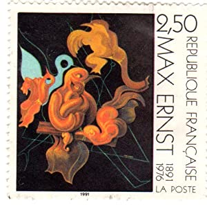Postage Stamps France. One single 2.50fr Multicolored Apres Nous La Maternite by Max Ernst Stamp Dated 1991, Scott #2245.