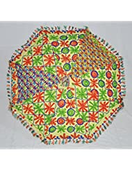 Indian Ethnic Yellow Handcrafted Embroidery Work Cotton Umbrella 24 X 28