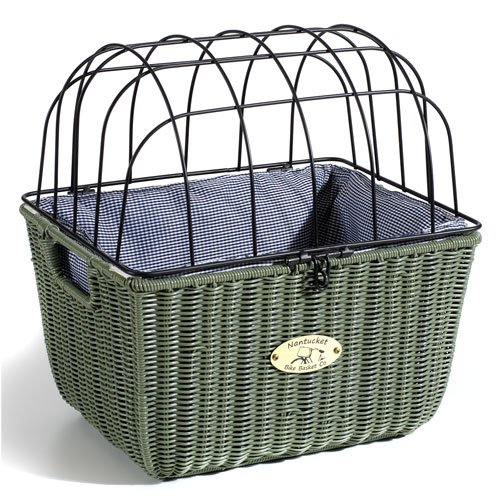 Nantucket Bike Basket CompanySomerset Collection Bicycle Pet Basket with Quick Release (Green, 15 X 12 X 16)