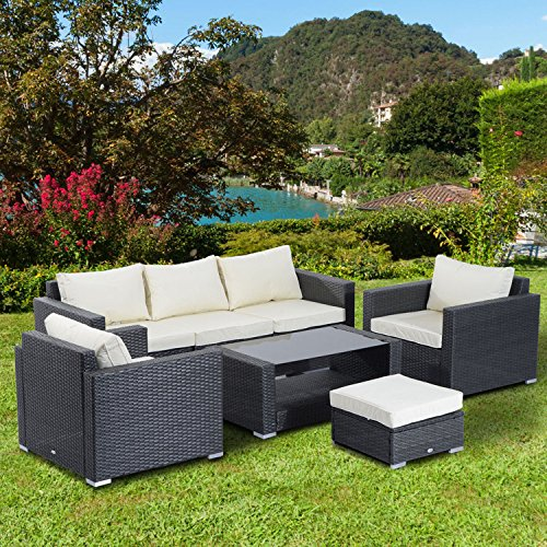 Tectake Luxury Rattan Aluminium Garden Furniture Sofa Set