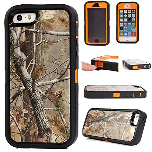 KeckoTM For iphone 5 5s Case Defender Military Tough Armor Shockproof High Impact Hybrid Comouflage Hunting Camo Tree Case Covers For iphone 5s 5 With Built-in Screen ProtectorNot For iphone 5C--Camo Tree On The Core Tree Orange