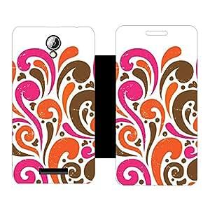 Skintice Designer Flip Cover with Vinyl wrap-around for Lenovo A5000, Design - pink pattern