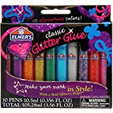 Elmer's 3D Washable Glitter Pens, Classic Rainbow and Glitter Colors, Pack of 10 Pens (E199)