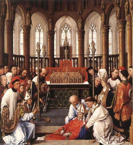 Pittura a olio dipinta a mano - 18 x 20 inches / 46 x 51 CM - Rogier Van Der Weyden - Exhumation of St Hubert
