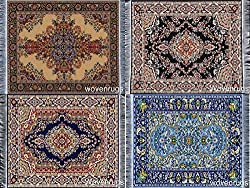 Set of 4 Woven Rug Mouse Pads - Persian Style Carpet Mousemats