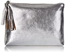 LOEFFLER RANDALL Tassel Pouch Leather Clutch, Silver, One Size