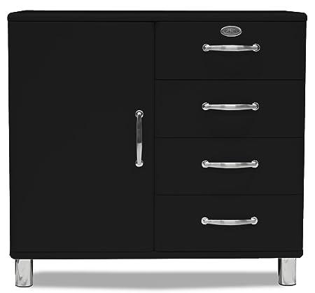 Tenzo 5235-033 Malibu - Designer Kommode / Sideboard 92 x 98 x 41 cm, MDF lackiert, schwarz