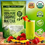 Organic Matcha Green Tea Powder Extract - 100% USDA Organic - Fat Burner & Weight Loss Diet Supplement - Energy & Mental Focus Booster - Lattes, Smoothies Shakes and Baking Mix - Gluten Free, Vegan Superfood - Amino Acid L-Theanine & Antioxidants - FREE Top 100 Matcha Recipe Ebook
