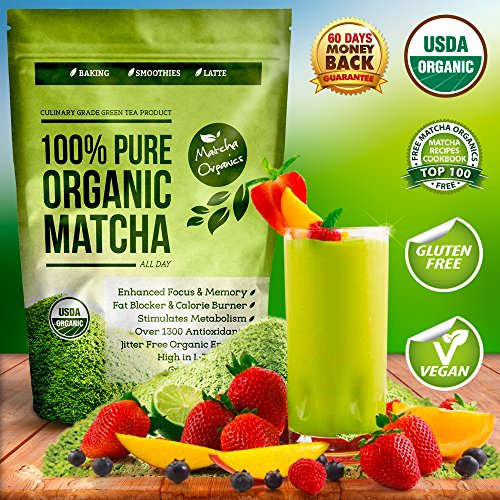 Organic Matcha Green Tea Powder Extract – 100% USDA Organic – Fat Burner & Weight Loss Supplement – Energy & Mental Focus Booster – Lattes, Smoothies and Baking – Over 1300 Antioxidants – Improved Hair & Skin Health – Great for Diet – Amino Acid L-Theanine – Fights Cancer with EGCg