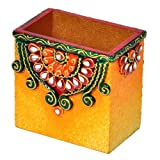 Little India Decorative Kundan Meenakari Wooden Pen Stand (10.16 Cm X 10.16 Cm X 6.35 Cm)