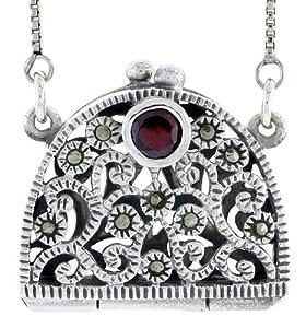 Sterling Silver Marcasite / Natural Garnet Filigree Purse Locket / Prayer Box
