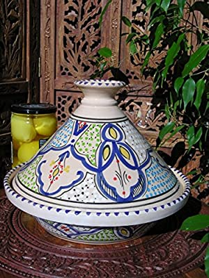 Medium Tunisian cooking tagine in blue by Maroque