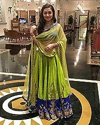 Shree Ganesh Women's Green Silk Fusion Lahenga Choli [SL 32(SG_F)]