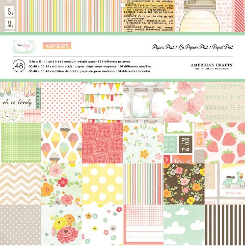 American Crafts Paper Pad, 12 by 12-Inch, Dear Lizzy Neapolitan