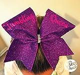 Tumbling Queen, Purple Glitter Cheer Bow, Cheer Bow