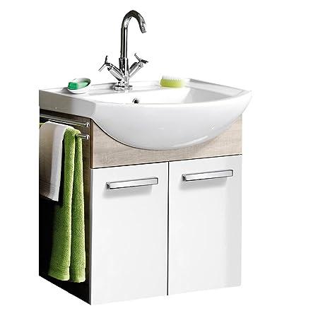FACKELMANN Washbasin A-Vero Graueiche 63 CM / White Look High-Gloss Vanity Bathroom only