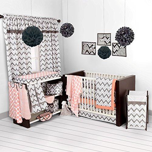 Bacati Ikat Coral/grey 6 Crib Set with 4 Muslin Blankets