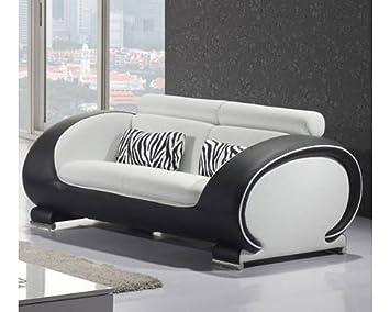 Canapé cuir 2 places New York Assise blanche côté noir Cuir + PVC