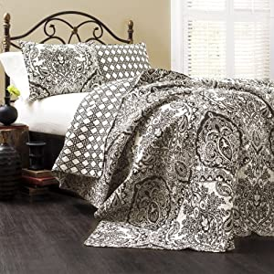 Lush Decor Aubree 3-Piece Quilt Set, King, Charcoal