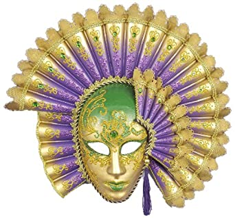 Forum Deluxe Mardi Gras Best Full Face Mask, Green/Gold/Purple, One Size