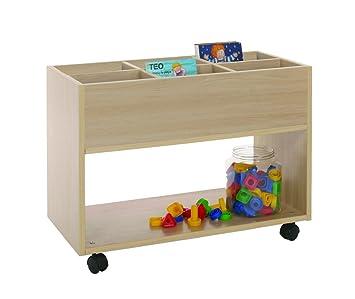Mobeduc 600904HR18 Carrello-Libreria alta, in legno, colore: faggio, 40 x 40 x 58 cm