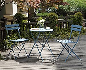 Grand Patio Steel Folding Outdoor Furniture Set for Bistro/ Patio/ Backyard, Patio Furniture Sets, 3 PCS Set of Foldable Table and Chairs, Blue by Grand patio
