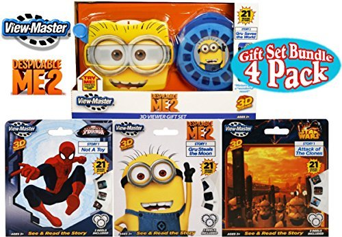 "Basic Fun View-Master Classic 3D Adventures ""Despicable Me 2″ (Minions) Viewer with Story 2 Deluxe Gift Set Bundle with ""Star Wars"", ""Spider-Man"" & ""Despicable Me 2″ Story 1 Reels – 4 Pack"
