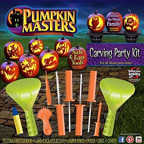 Lot Of 2 NEW Halloween Pumpkin Masters Carving Party Kits Patterns and Tools (2016 Pumpkin Carving Ideas)