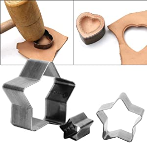 3pcs Leather Craft Cutting tool Hole Hollow Steel Cutter Punch Tool Kit Heart-shaped Drop shape Pentagram Cutting Mold(Pentagram) (Color: Pentagram)