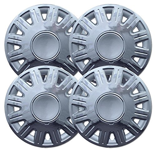 2003-2007 Ford Crown Victoria 16 Inch Silver with Chrome Edge Clip-On Hubcap Covers (Set of 4)
