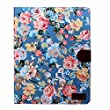 Atdoshop(TM) 1PC Magnetic Wallet Floral Jacquard Leather Cover Case For ipad 2 3 4 (Blue)