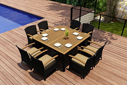Harmonia Living Arbor 9 Piece Modern Outdoor Wicker Dining Set with Tan Sunbrella Cushions (SKU HL-AR-9DN-HB) picture