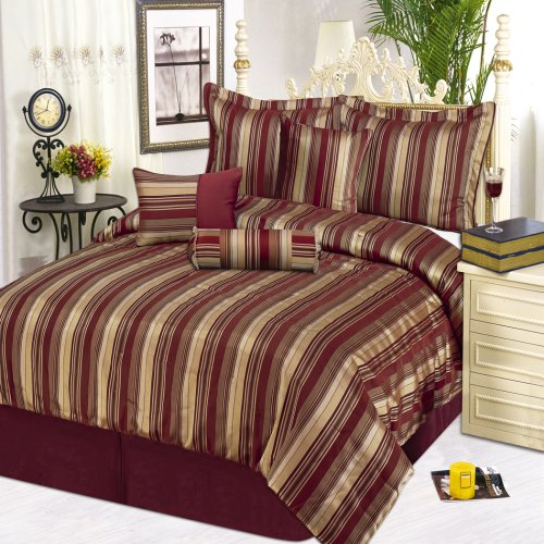 LCM Home Fashions Royal Stripe 7-Piece Comforter Set