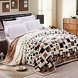 Homehalo  マイクロファイバー毛布 ブランケット ラッシェル 通気 厚手 暖か 超柔らか ベッド ソファー用  ひざ掛け 大判 ブロック柄 150cm*200cm