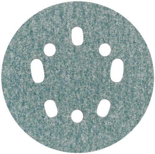 "Norton 3X 5 & 8 Hole Universal Vacuum Abrasive Fiber Disc, Fiber Backing, Hook & Loop, Aluminum Oxide, 5"" Diameter, Grit P320 (Pack Of 10) front-7851"